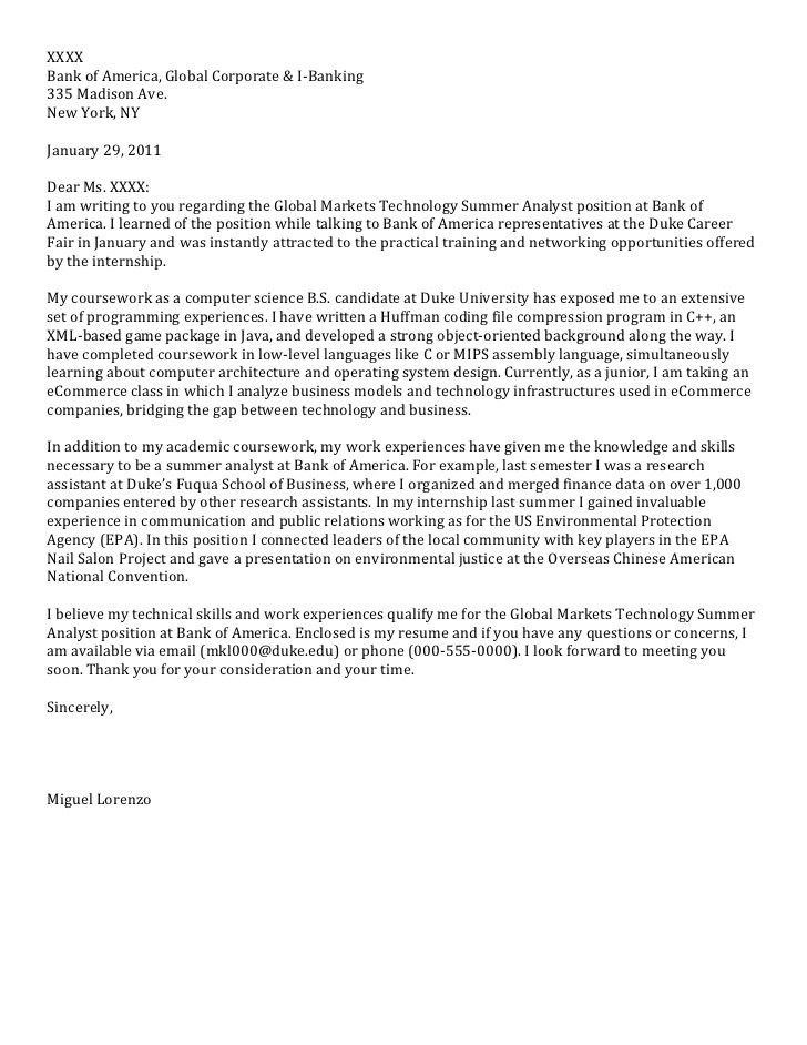 Junior Cover Letter: Computer Science