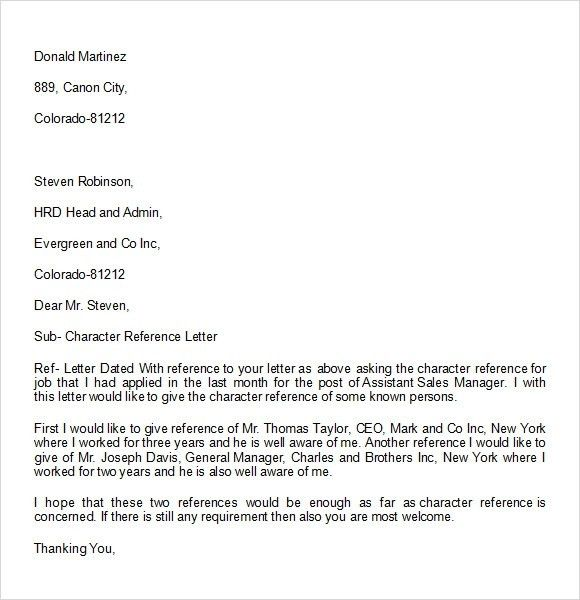 Character Reference Letter Examples | Template Design