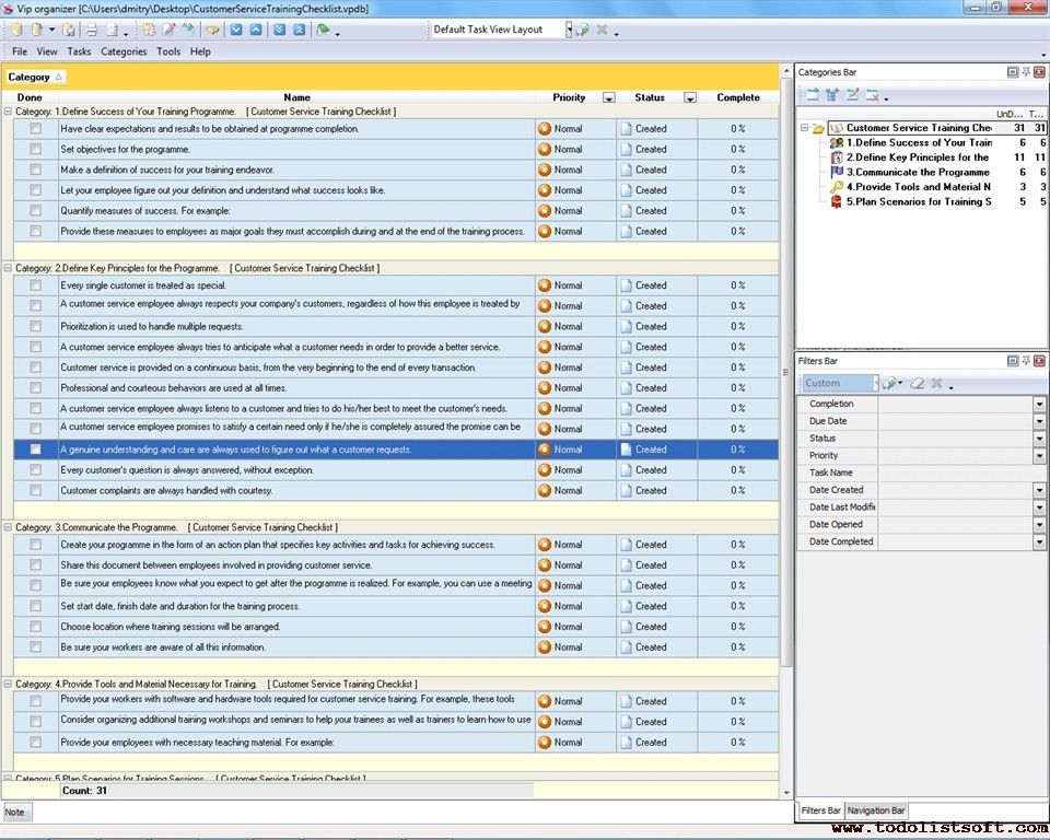 Customer Service Training Checklist - To Do List, Organizer ...