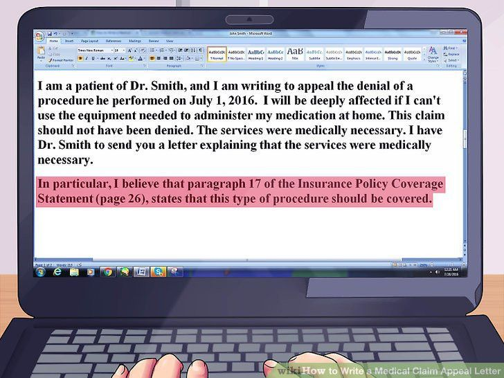 How to Write a Medical Claim Appeal Letter (with Pictures)