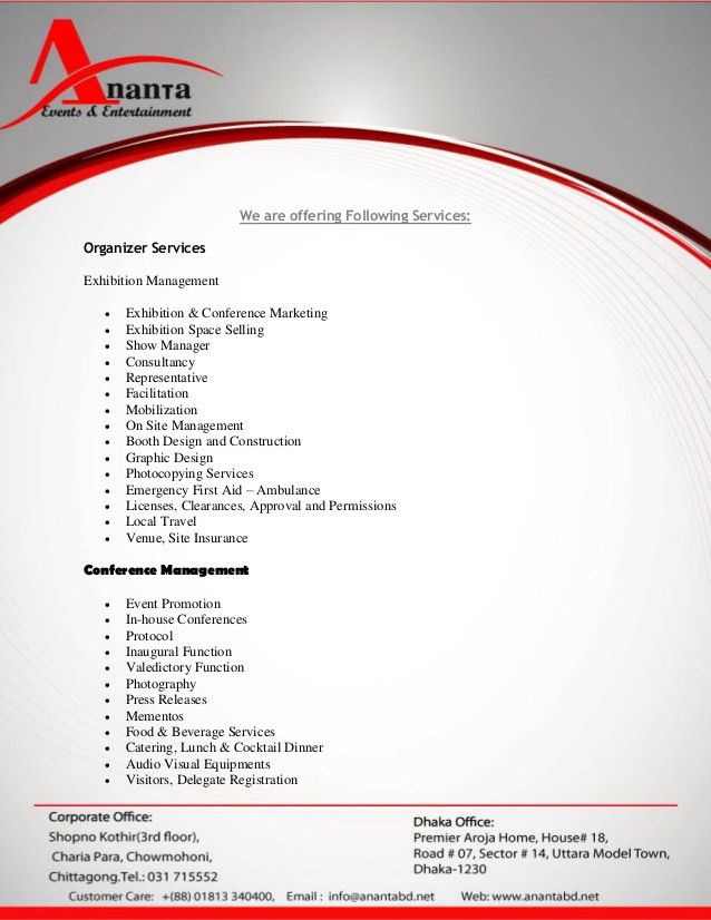 Proposal for event services asia group