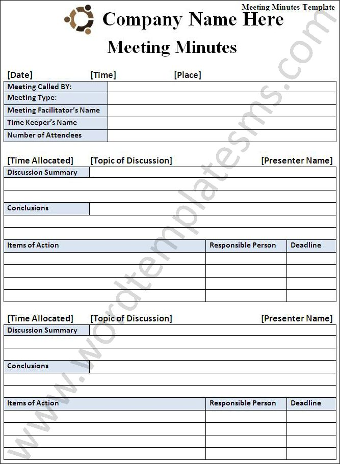 Meeting Minutes Template Download Page | Word Excel Formats