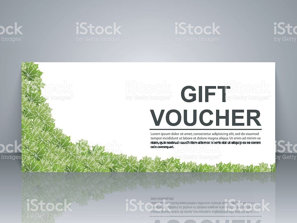 Gift Voucher Template With Green Leaves On A White Background ...
