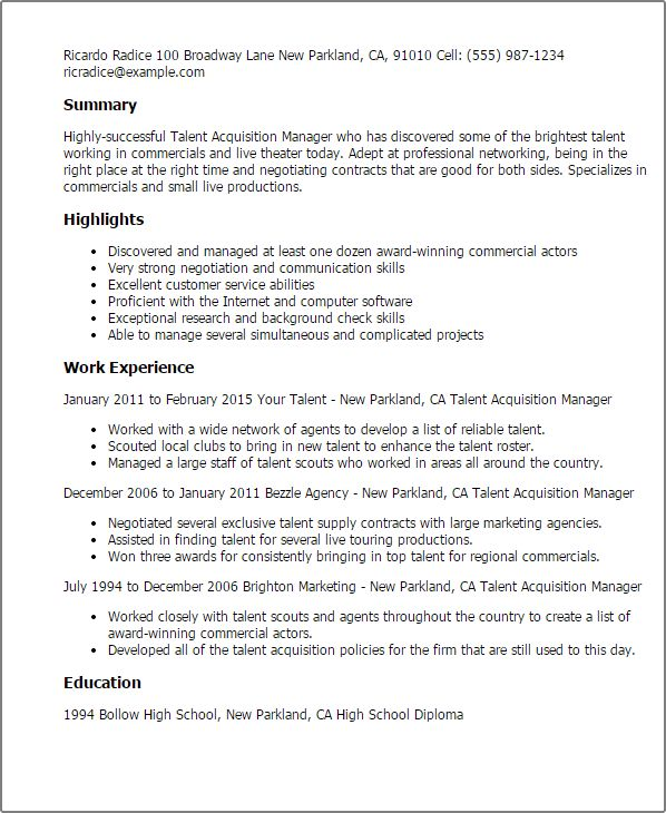 19+ [ Talent Acquisition Resume Sample ] | Professional Talent ...