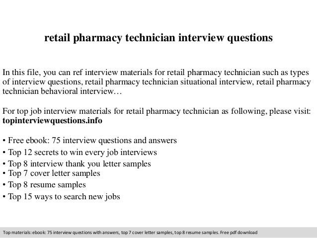 Retail pharmacy technician interview questions