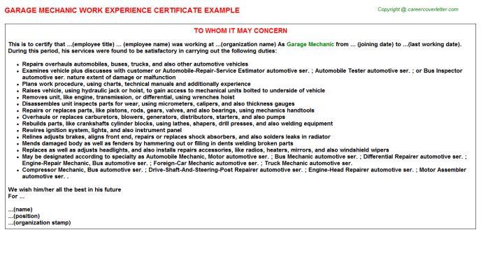 Garage Mechanic Work Experience Certificate