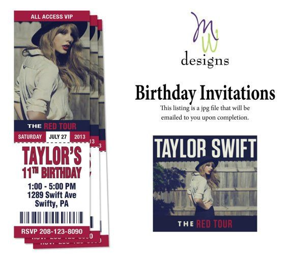 Taylor Swift - Printable Concert Ticket Birthday Invitation on ...