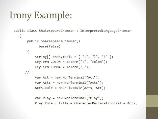 Build a compiler using C#, Irony and RunSharp.