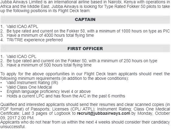2017 Jubba Airways Captain & First Officer Jobs - JobSpot Kenya