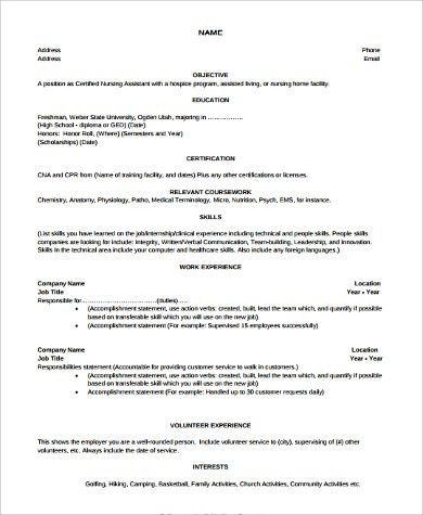 Nursing Assistant Resume Examples. Sioncoltd Com - Resume Sample ...