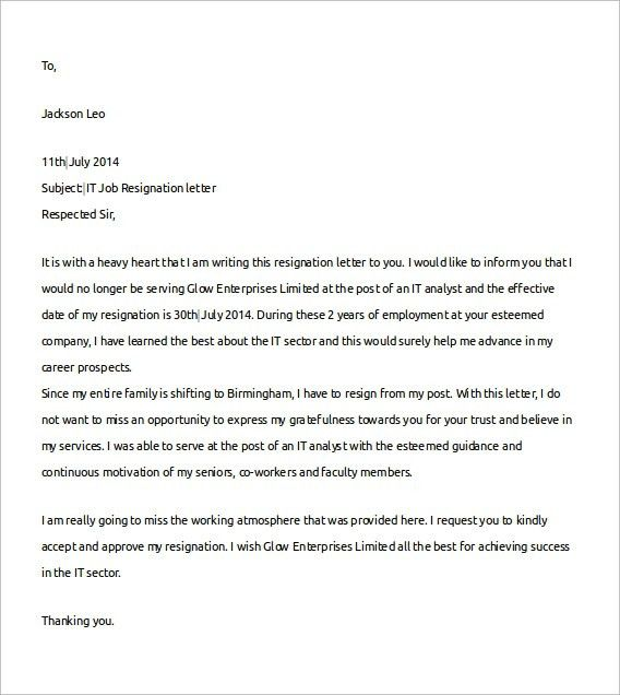 Job Resigning Letter Format Resignation Letter Two Weeks Notice ...