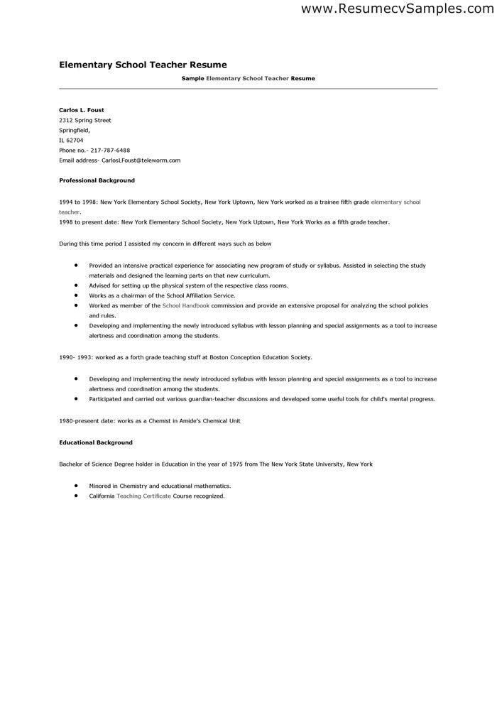 Resume Format For School Teacher Job | Resume Format