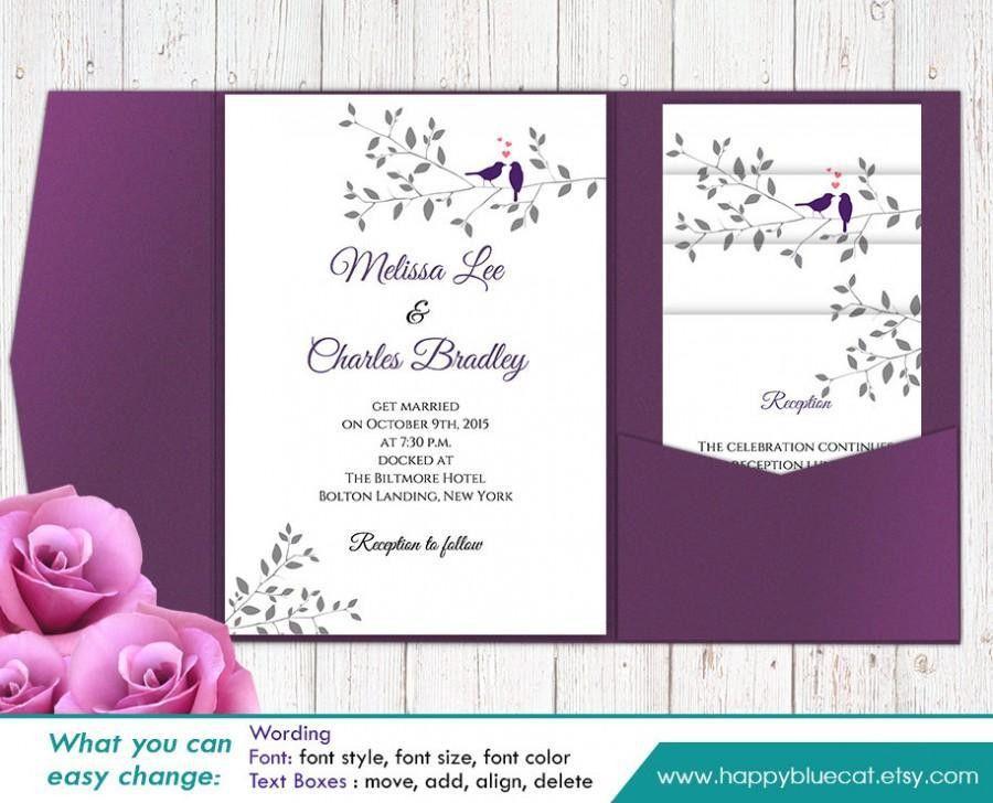 DiY Printable Pocket Wedding Invitation Template SET- Instant ...