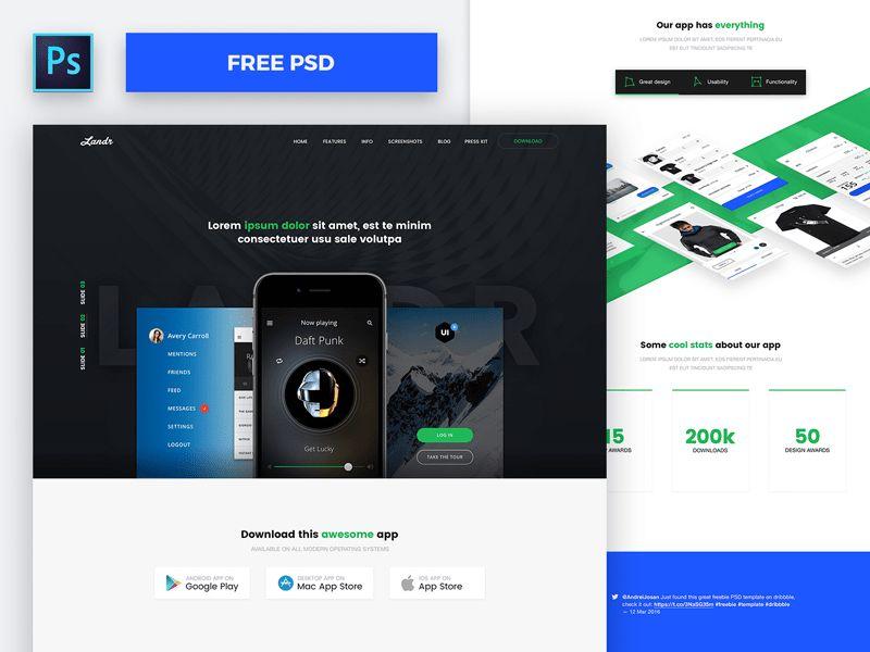 50+ Best Free Landing Page PSD Templates – Djava UI