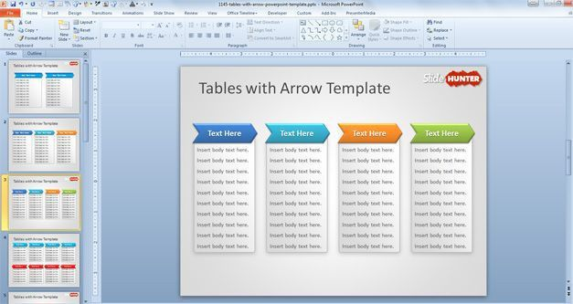 Free Tables with Arrow PowerPoint Template - Free PowerPoint ...