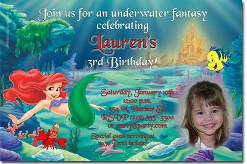 Little Mermaid Birthday Invitations, Ariel Birthday Invitations ...