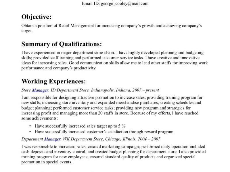 retail management resume objective examples of resumes retail