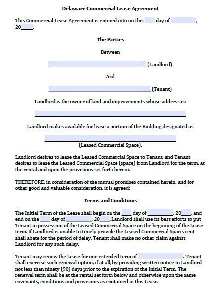 Free Delaware Commercial Lease Agreement Template – PDF – Word