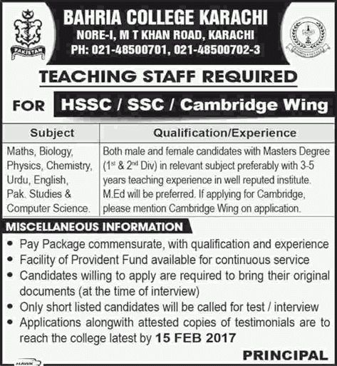 Bahria College Karachi Jobs 2017 Teaching Faculty Application Form ...