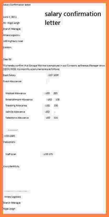 9+ salary confirmation | Simple salary slip