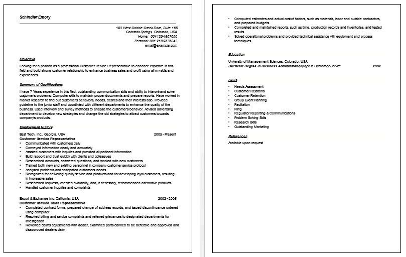 Sample Resume Objectives For Customer Service | jennywashere.com