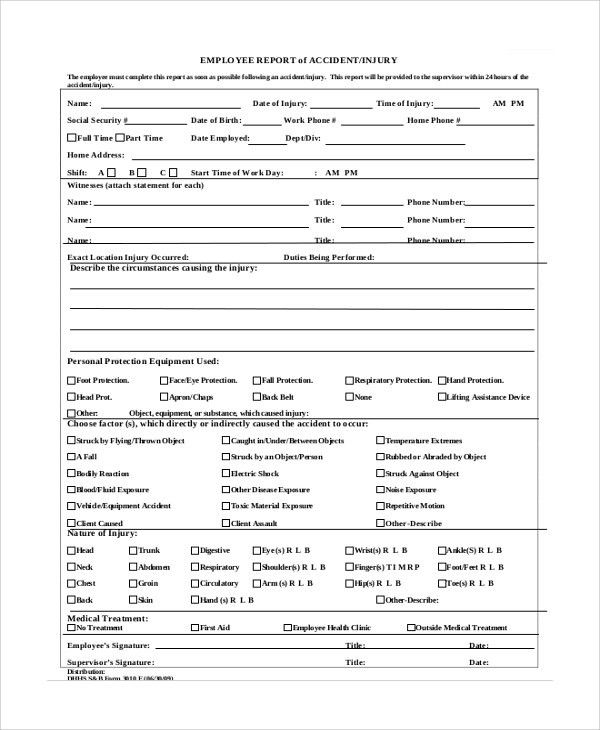 Incident Report Form. Employee Incident Report Form Sample ...