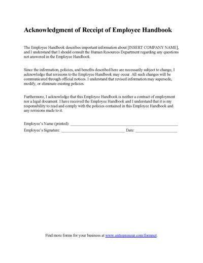 Employee Handbook Receipt Form | Employee handbook and Filing