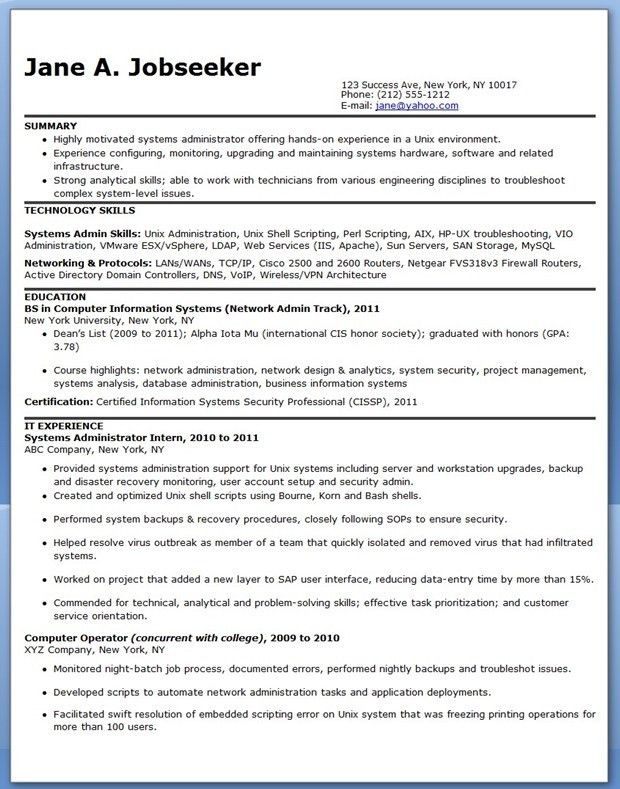 Download System Administration Sample Resume ...