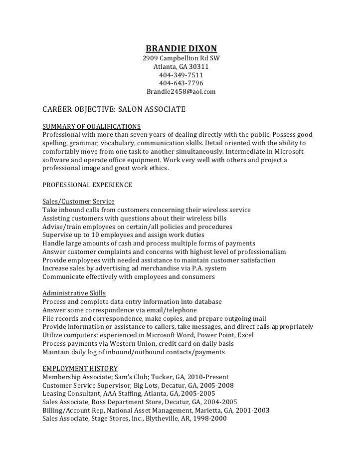 Salon Resume