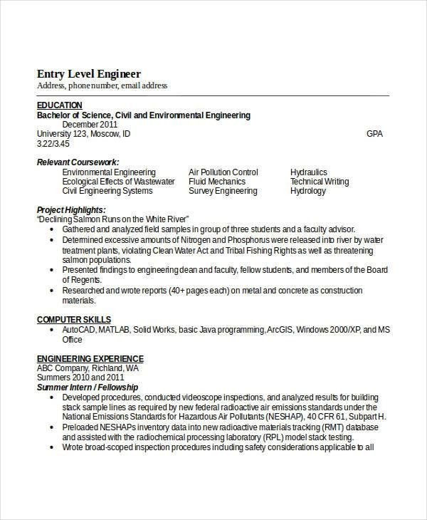 civil engineering resume civil engineering resume sample resume