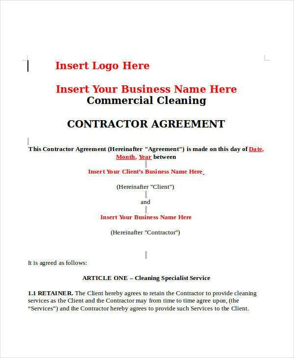 example of a cleaning contract