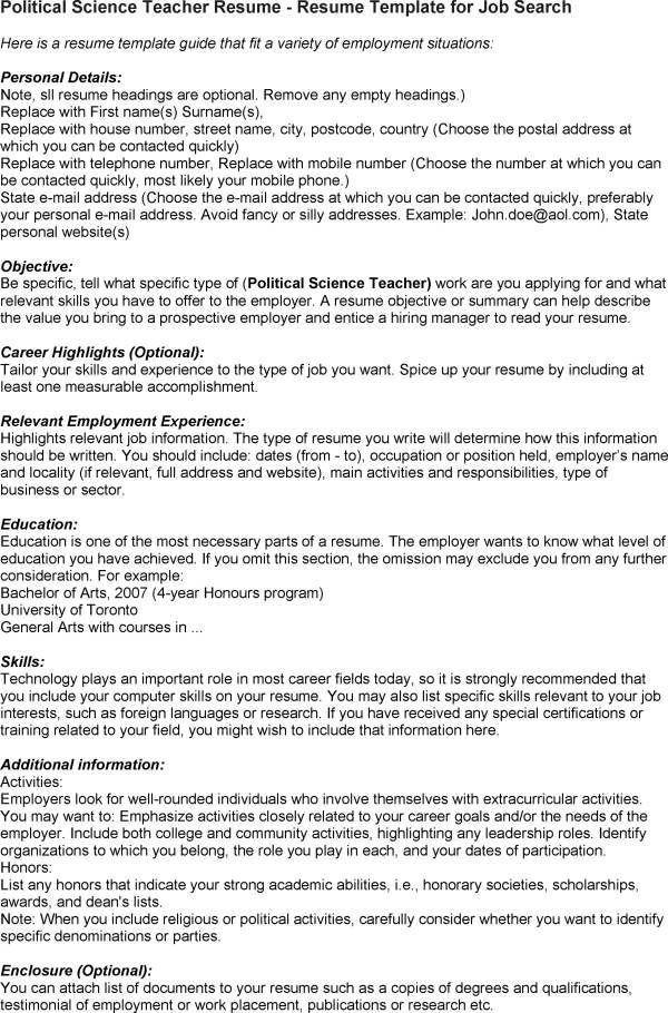 sample resume political science teacher resume template