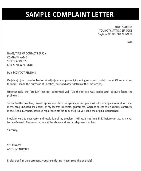 Sample Complaint Letter - 9+ Examples in PDF, Word
