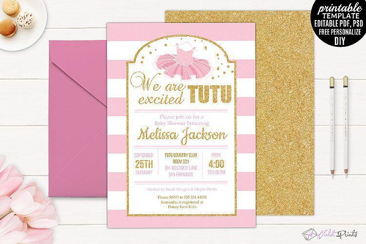 Tutu Ecxited Baby Shower Invitation Tem   Design Bundles