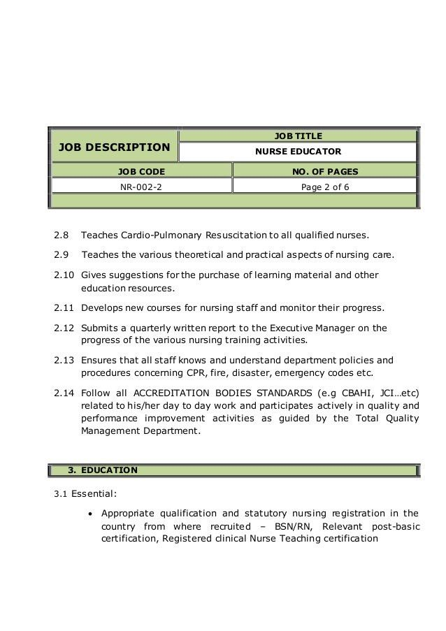 NURSE EDUCATOR job description