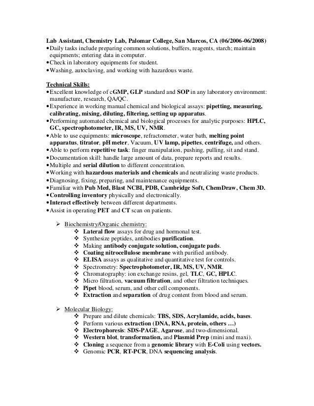 Example Resume For Lab Technician - Contegri.com