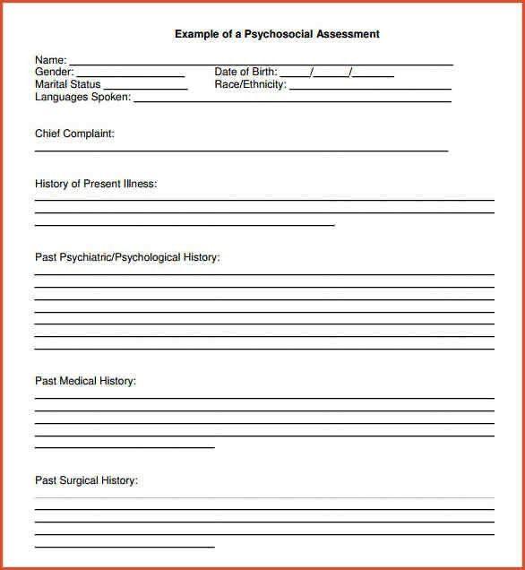 BIOPSYCHOSOCIAL ASSESSMENT TEMPLATE.Psychosocial Assessment Format .