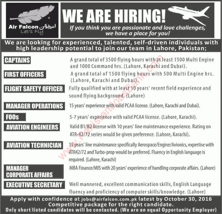 Air Falcon Jobs 2016 October Captains, First Officers, Aviation ...