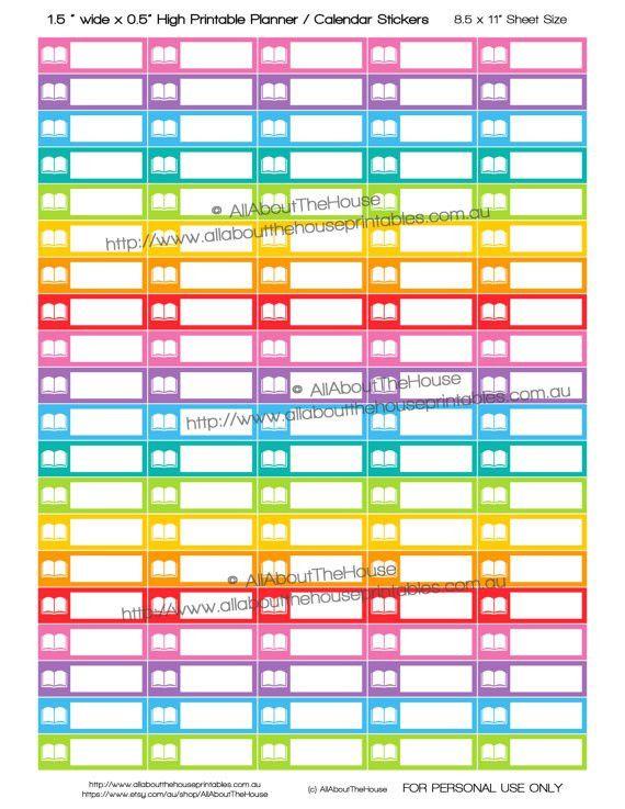 Study Planner Stickers Printable Calendar Read Book Test