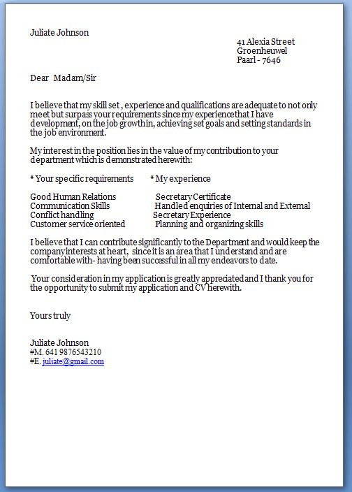 JOB APPLICATION COVER LETTER templates and template for Job Cover ...