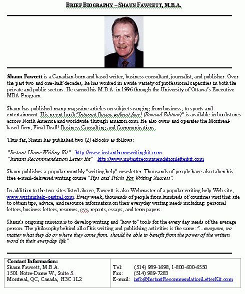 Biography Brief... sample format for a typical brief biography.