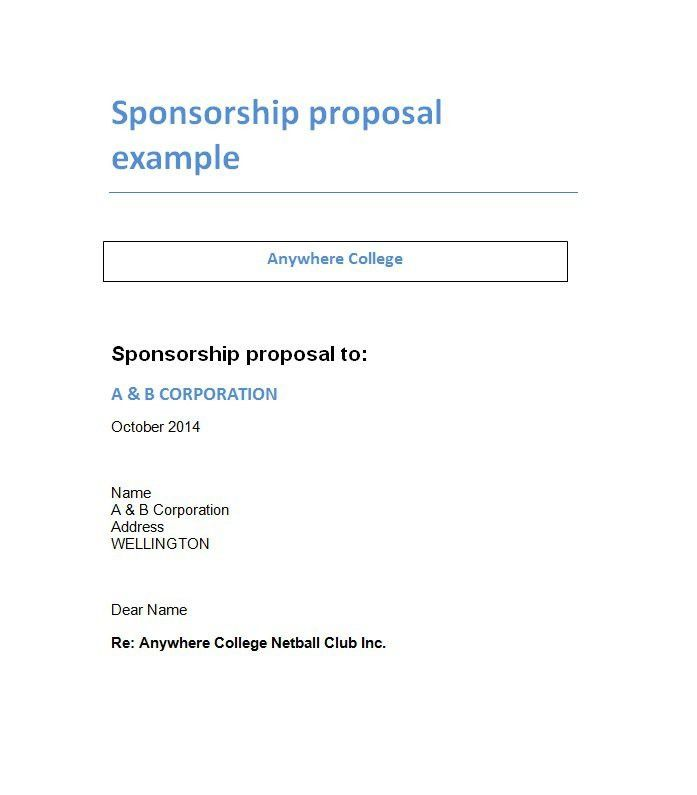 sponsorship form template free