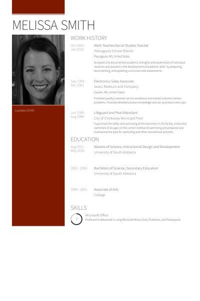Social Studies Teacher Resume samples - VisualCV resume samples ...