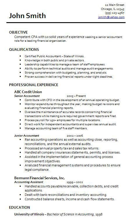 senior accountant resume format httpwwwresumecareerinfosenior ...