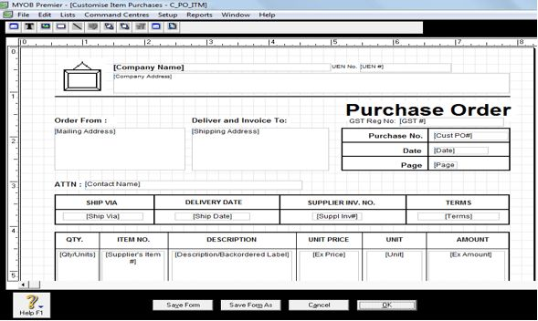 Customising Purchase Order in MYOB - A1myobcourse