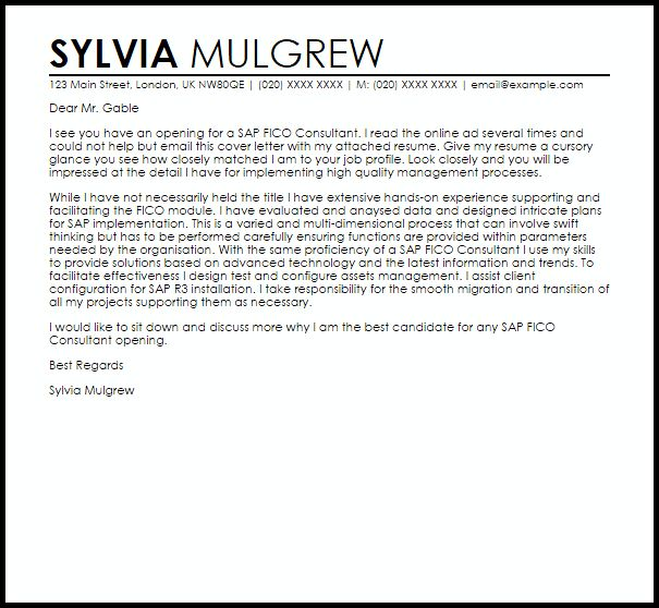 Sap Fico Consultant Cover Letter Sample | LiveCareer