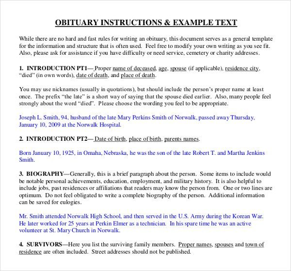 11+ Obituary Writing Template – Free Sample, Example Format ...