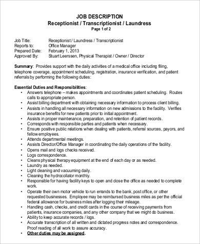 Medical Receptionist Job Description. Cover Letter Dental ...