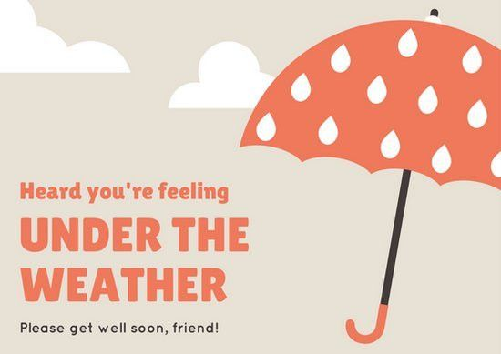 Beige and Orange Umbrella Get Well Soon Card - Templates by Canva