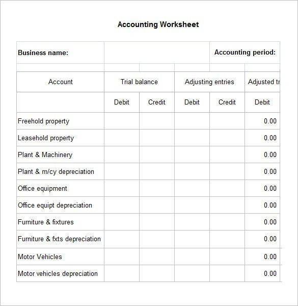 4+ Accounting Worksheet Templates – Free Excel Documents Download ...